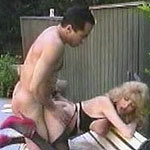 Mature blonde bitch gets anal fucking on a park bench