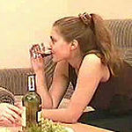 Teen girl drunk wine and getting dick in pussy