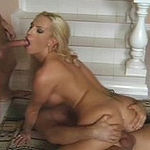 Horny at hot blonde babe gets ass pumping action while sucking erected dick