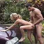 Sexy blond latina ass squirting in hood of the car