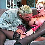 Mature tits licking and pussy fucking