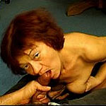 Naughty granny gets off from sucking dick and masturbating