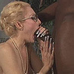 Prim mature doll swallowing ebony cock