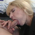 Spicy hot housewife eating hard meat