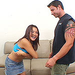 Sexy brunette Latina sucks Julian until his cock is rock hard for fucking