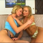 Horny blonde babes stripping on couch and getting gangbanged