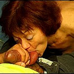 Nasty granny in stockings masturbates and sucks dick