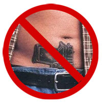 no guns in waistbands sign