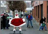 Santa flashing on the street