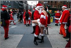 Santa kissing a hot Mrs Claus